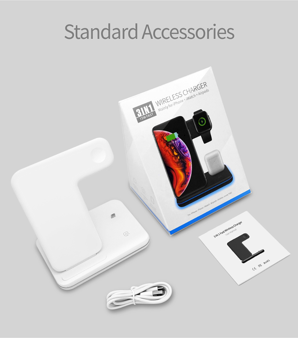 NYFundas 15W Wireless Charger stand Dock Station For Apple Watch Series 4 3 2 Iwatch Iphone XS MAX XR 8+ Airpods Fast Charging  (1)