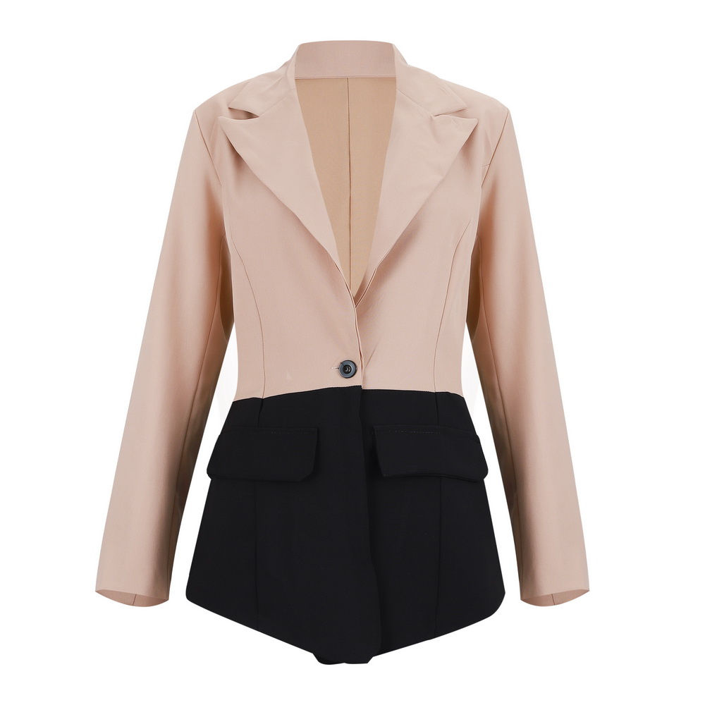 Women Colour Block Slim Blazer Spring  Autumn Sexy Lapel Neck Long Sleeve Single Button Stitching Workplace Casual Wild Suit D30