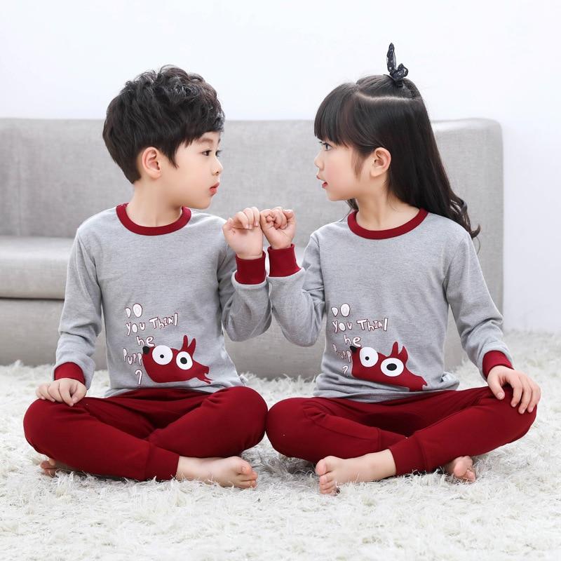 2019 Autumn Winter Kids   Pajamas     Set   Baby Girl Clothes Kids Cartoon Sleepwear Cotton Pyjama enfant Boys Pijama Toddler Nightwear