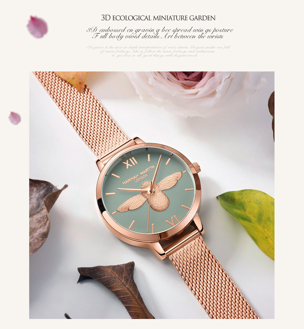 Rose Gold Bee Personality Design Ladies Watch 12