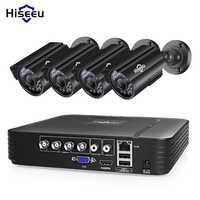 Sistema de cámara CCTV Hiseeu 4CH 720 P/1080 P Cámara DE SEGURIDAD AHD DVR Kit CCTV impermeable sistema de Video vigilancia para el hogar al aire libre HDD