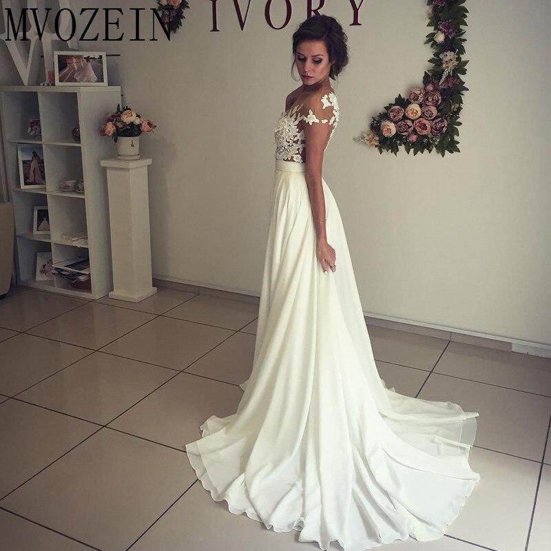 Boho Weiß Hochzeit Kleider Chiffon A linie Cap Sleeves Spitze Brautkleider Hohe Split Hochzeit Kleid vestido de noiva - 2