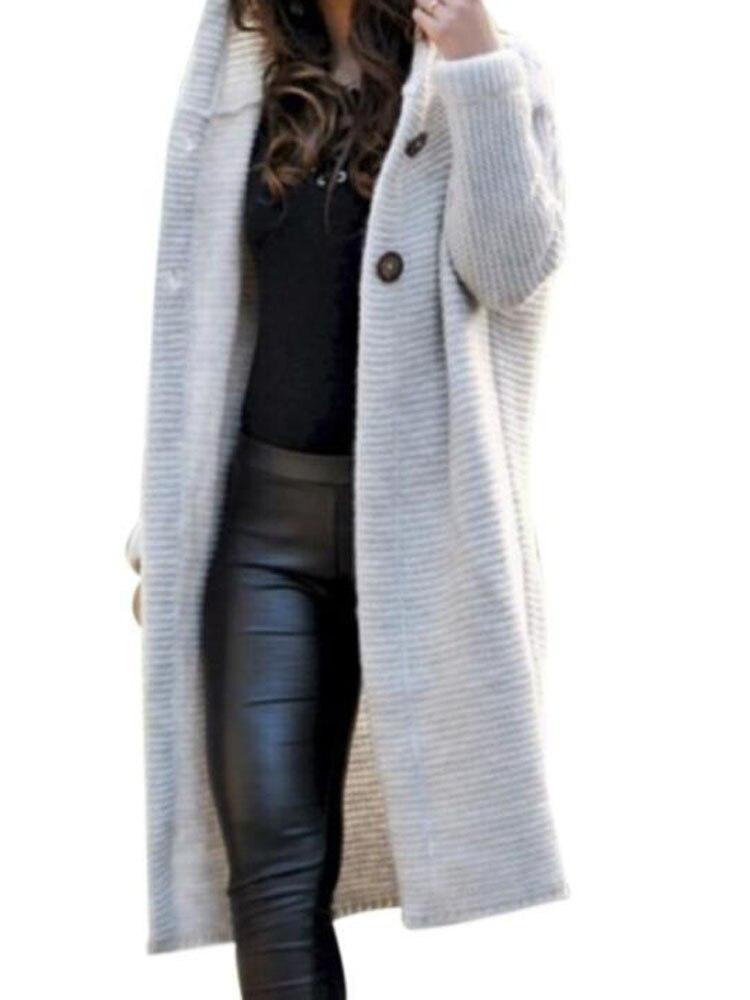 XXXL 2019 Autumn Winter Hooded Long Cardigan Women Casual Long Sleeve Korean Sweater Coat Loose Knitted Cardigans
