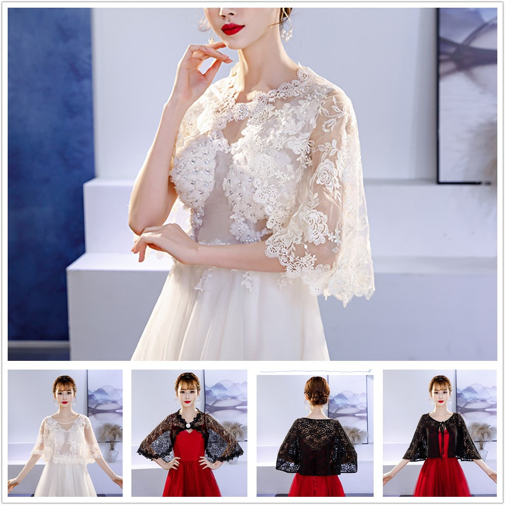 One Size Women Shrug Bolero Lace Chiffon Wedding Bridal Summer Jacket Elegant Cape Wrap Fashion Shawl Bridal Cloak