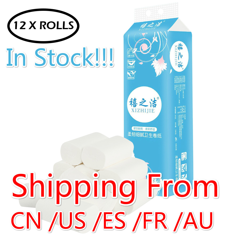 12 Rolls 4-Layer Toilet Roll Paper Soft Toilet Paper Roll Skin-friendly Paper Towels Home Bath Paper High Quality Materials