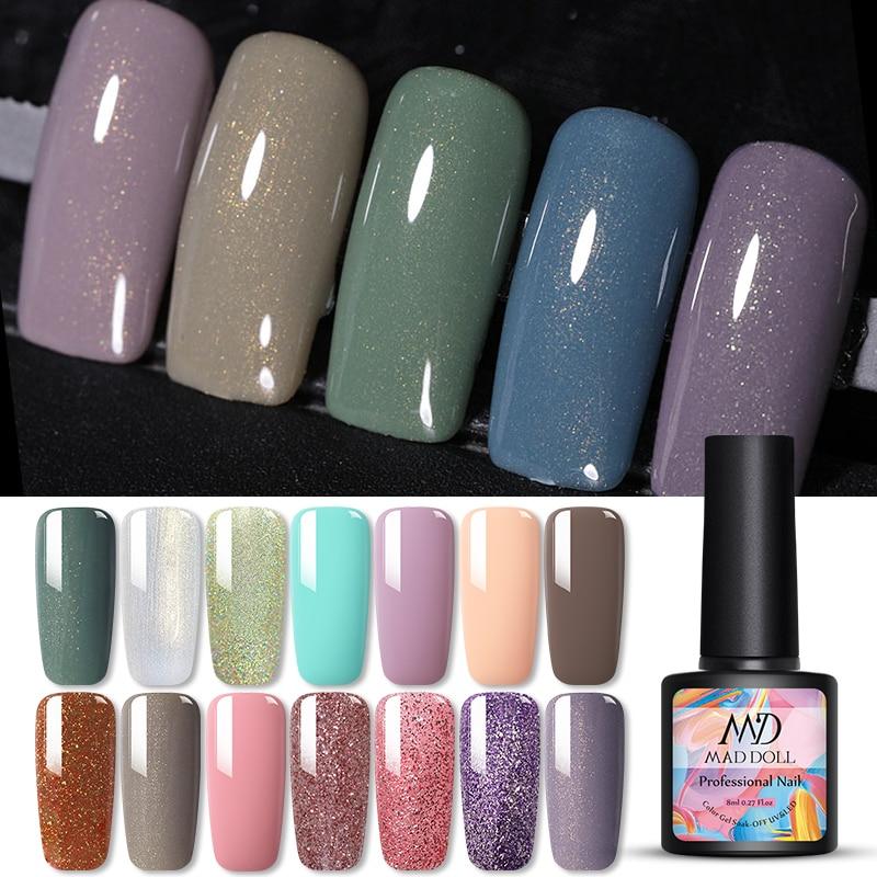 1 Bottle 14 Color  MAD DOLL Gel Polish Shimmering Particles UV Gel Bling Sequins Soak Off  Nail UV Gel Polish