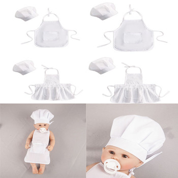 2 Pcs Cute Baby Chef Apron and Hat Infant Kids White Cook Photos Costume Photography Prop Newborn
