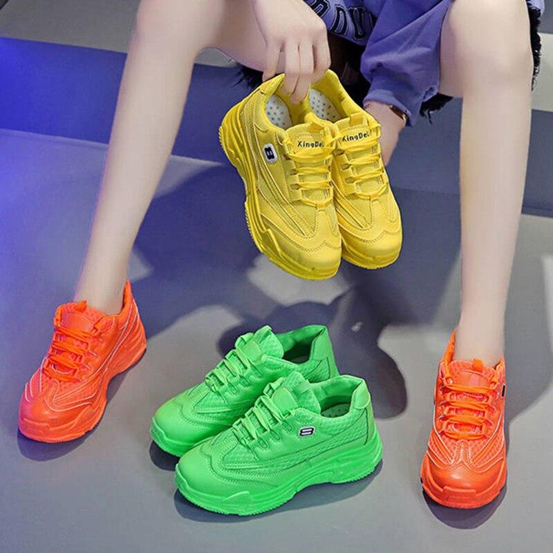 Кроссовки женские на платформе, дышащие, флуоресцентные, зеленые, желтые, спортивные, для студентов, танцевальные туфли в стиле хип хоп, новинка 2020|Кроссовки и кеды| | АлиЭкспресс