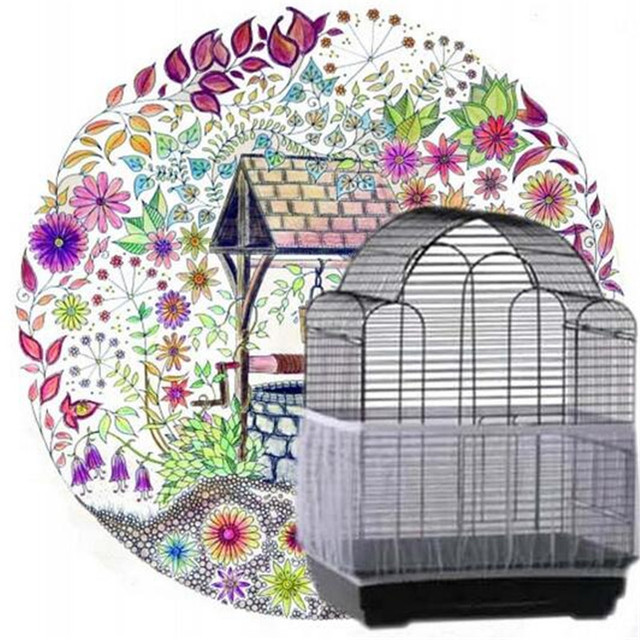 Nylon Mesh Bird Cage Cover Shell Skirt Net Easy Cleaning Seed Catcher Guard Bird Cage Accessories Airy Mesh Parrot Bird Cage Net 3