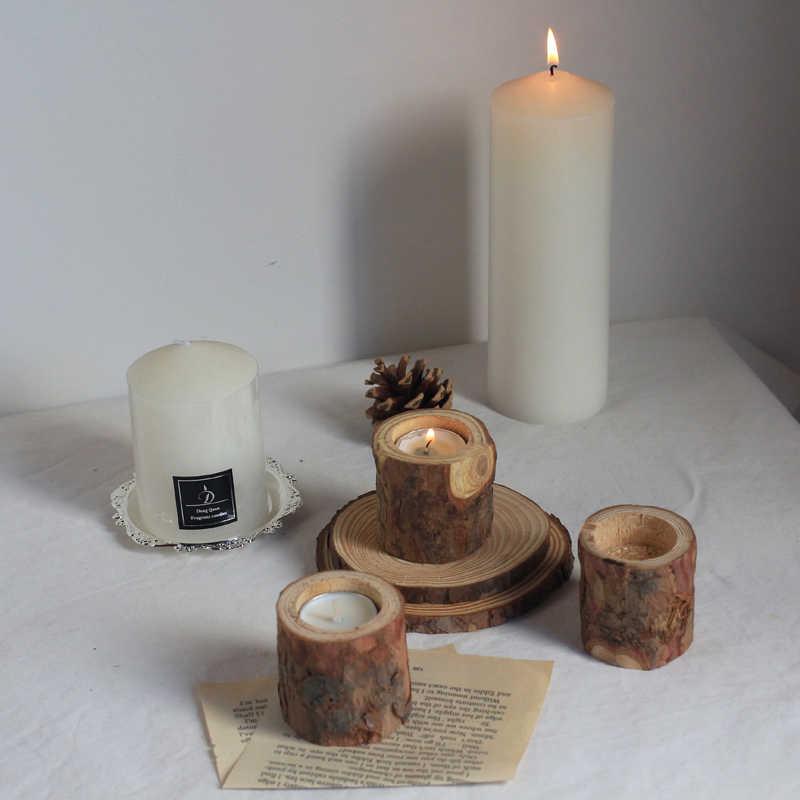 1 Pc Natuurlijke Grenen Hout Boomtak Houten Kaarshouder Handgemaakte Houten Kandelaars Voor Home Decoratie
