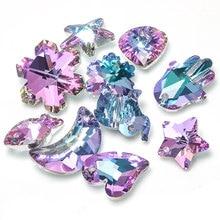 Doreen Box Glass AB Rainbow Color Aurora Borealis Glass Charms Pendants for Making Bracelet Necklace Jewelry for Women ,10 PCs