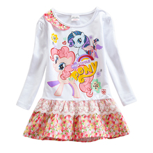 Little pony girl long sleeve dress cotton autumn new style for girls kids wearing comfortable cartoon print long sleeve dress