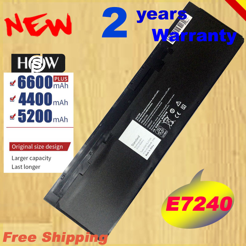 HSW WD52H VFV59 New Laptop Battery For DELL Latitude E7240 E7250 W57CV 0W57CV GVD76 VFV59 Battery 7.4V 45WHfast Shipping