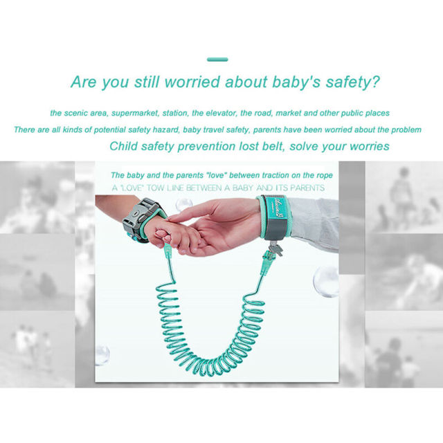 1.5-2.5m Children Leash Anti-lost Wrist Link Traction Rope Kids Safety Harness Adjustable Baby Walker Wristband 4