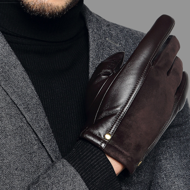 Genuien Leather Male Gloves Autumn Winter Thicken Warm Driving Sheepskin Gloves Man Black Casual Leather Gloves TU2801