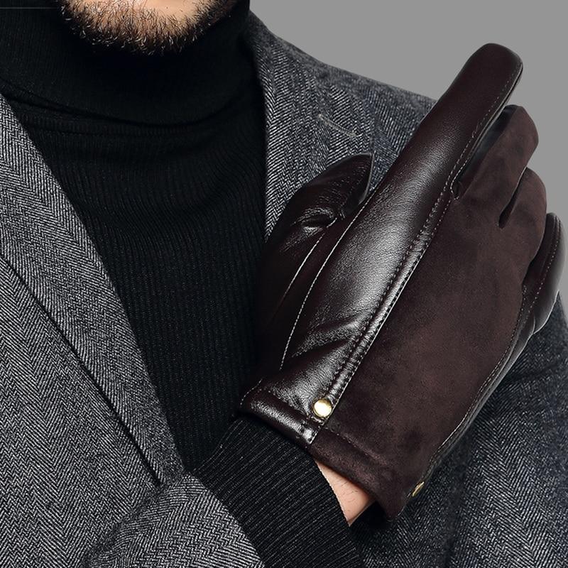 Genuien Leather Male Gloves Autumn Winter Thicken Warm Driving Sheepskin Gloves Man Black Casual Leather Gloves TU2801