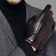 Prawdziwej skóry męskie rękawiczki jesień zima zagęścić ciepłe jazdy rękawice z owczej skóry człowiek czarny przypadkowi skórzane rękawiczki TU2801