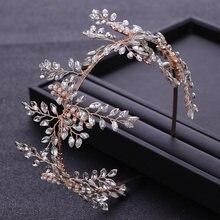 Модные золотые жемчужные хрустальные стразы свадебная повязка