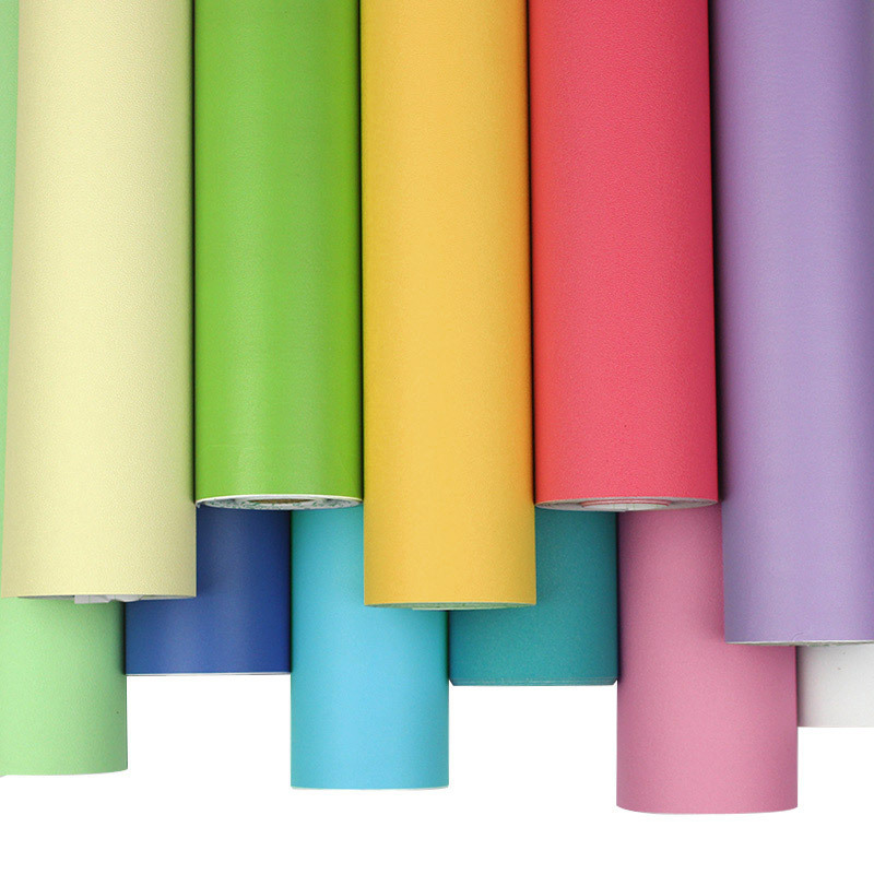Sticky Notes Solid Color Living Room PVC Wallpaper Self-Adhesive Simple Bedroom Wall Wallpaper Self-adhesive Plain Color Wallpap
