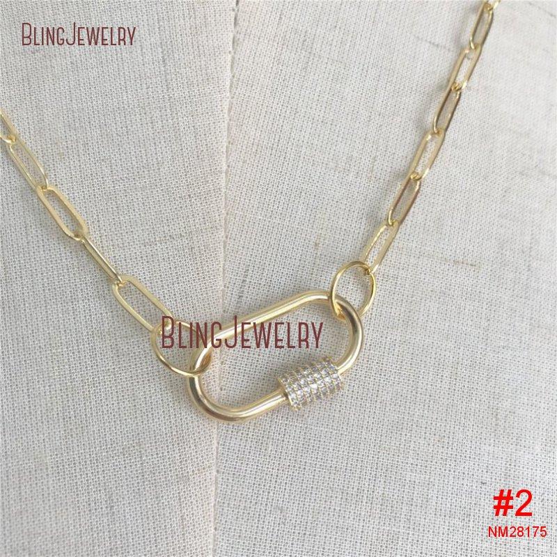 Золотое ожерелье-чокер, золотое ожерелье с овальной застежкой в форме сердца, CZ ожерелье с винтовой застежкой NM28172 - Окраска металла: NM28175