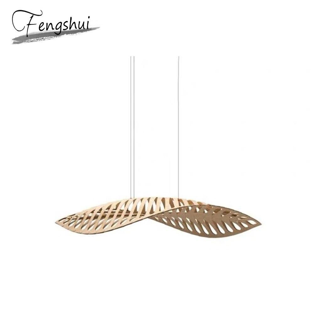 Asie du sud-est feuille de bois LOFT pendentif lumières chambre salon chevet café pendentif lumière salon de coiffure lampe à suspension luminaire
