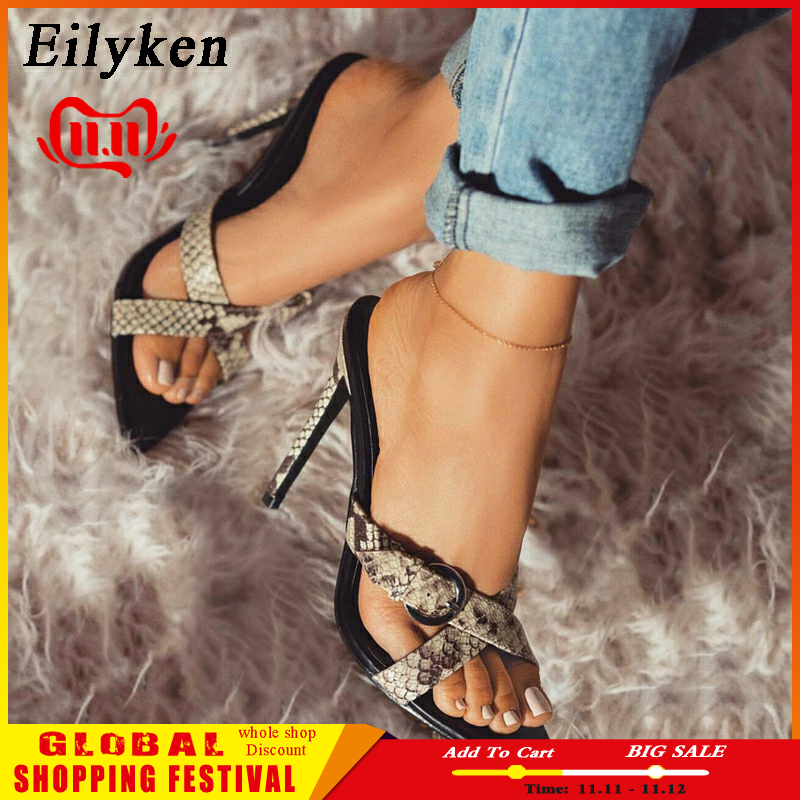 Eilyken Summer <font><b>Woman</b></font> <font><b>Slipper</b></font> <font><b>Sex</b></font> Leopard grain Stiletto <font><b>Shoe</b></font> Sandal <font><b>Woman</b></font> Thin <font><b>Heels</b></font> Buckles Pointed Toe Ladies Summer <font><b>Shoes</b></font> image