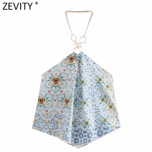 Zevity las mujeres Sexy sin tirantes camisa sin tirantes damas tela florales de retales imprimir blusa Casual ropa verano Blusas Tops LS9394