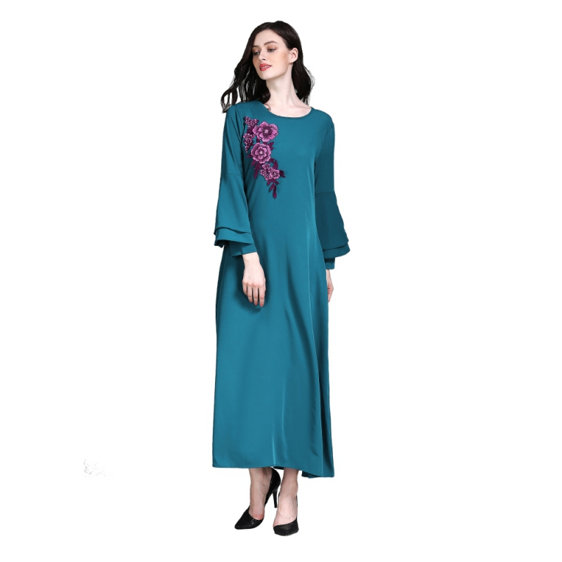 Floral Embroidery Abaya Flare Sleeve Pink/Blue Color Female Full Sleeves Musilim Long Dress Elegant Arabic Dress