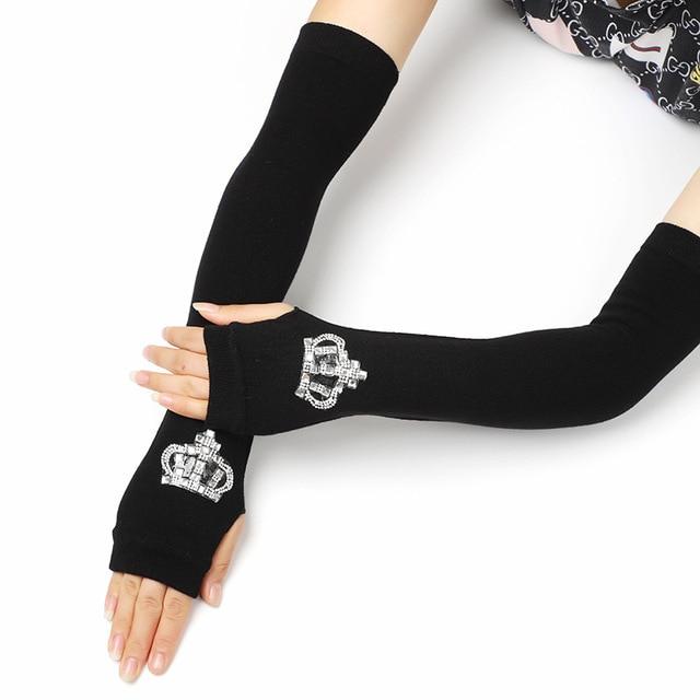 Female Black half finger Long Knitted Warm Driving Mittens Female Cute Fox Sailor Elasticity Dance Rhinestone Punk Gloves H37 6