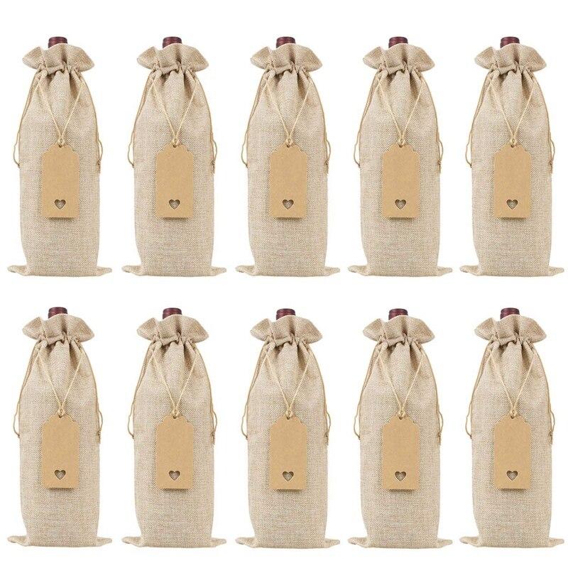 Sacos do presente do vinho dos sacos do vinho de serapilheira com drawstrings, únicas tampas reusáveis da garrafa de vinho com cordas e etiquetas (10 pces)
