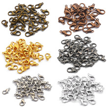 50 unidades/pacote cor da mistura 10/12/14/16mm metal lagosta fecho ganchos conectores de extremidade para joias fazendo descobertas colar pulseira diy