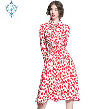 CUERLY 2019 autumn elegant turndown collar one button bowknot party dress fashion waist lace up red floral print women dresses