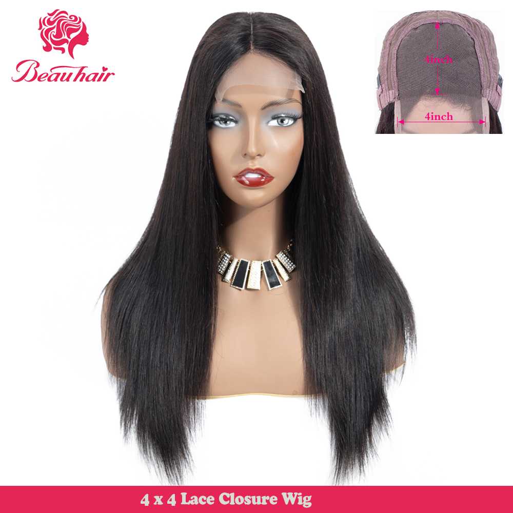 Brazilian Straight 4x4 Lace Closure Wig Pre Plucked Human Hair Bob Wigs With Baby Hair 150% Density Remy Beau Hair Glueless