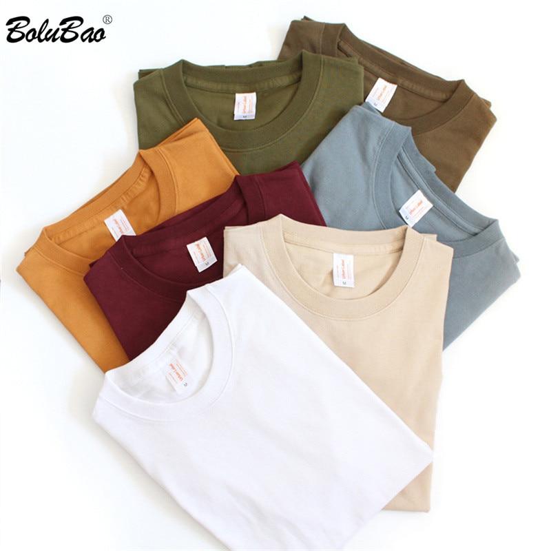 Мужская Повседневная футболка BOLUBAO, однотонная облегающая хлопковая Футболка с круглым вырезом и коротким рукавом, Топы И Футболки унисекс
