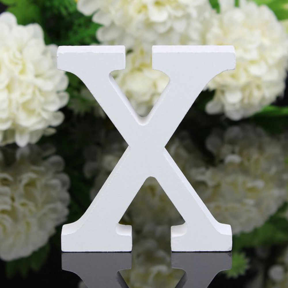 1 pieza de madera independiente bricolaje letras de madera alfabeto blanco boda cumpleaños fiesta decoración del hogar personalizado nombre diseño B1