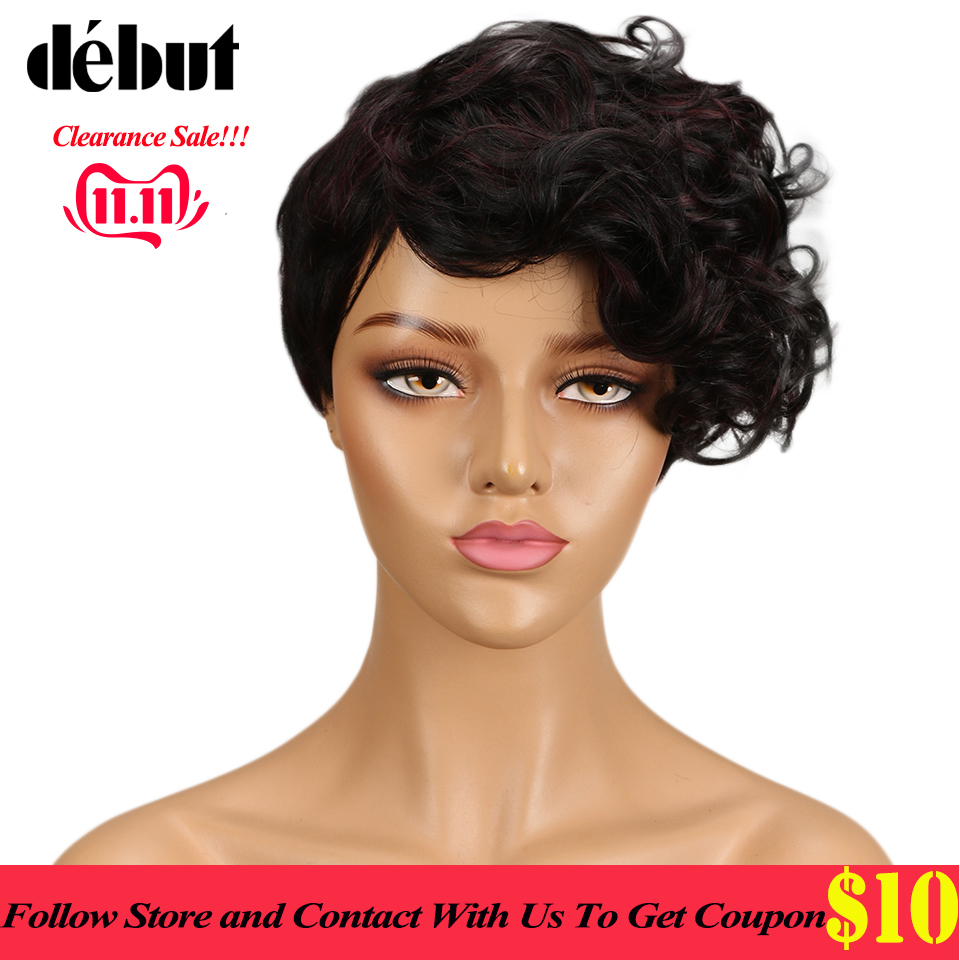 Debut Wig Human Hair None Lace Wigs For Black Women Curly Wavy Human Hair Wigs Brazilian Short Ombre Hair Wig Free Shipping