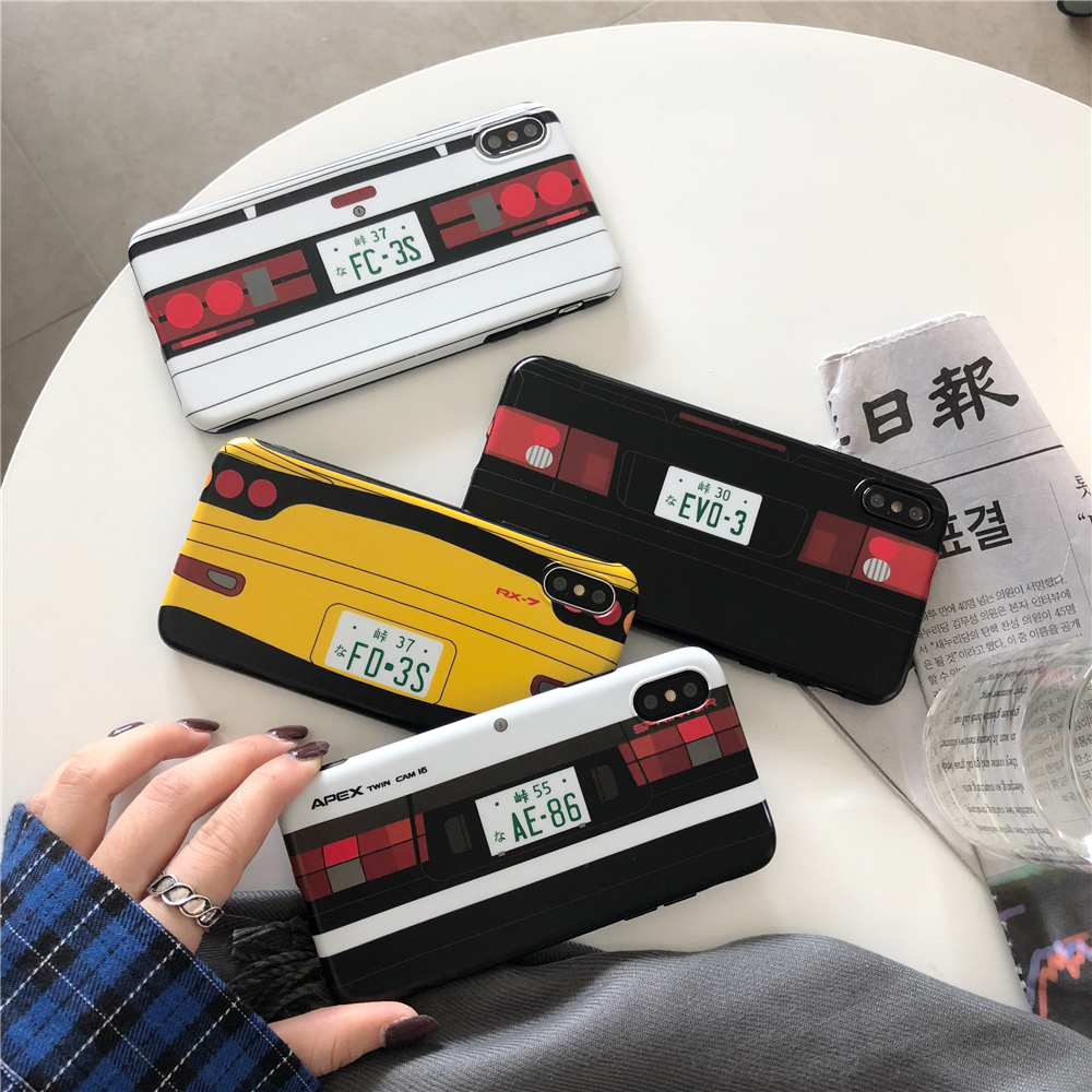 Japan Anime Initial D Car taillight Case For iPhone 11 Pro X XR XS Max 8 7 6 s plus Classic JDM AE86 RX-7 EVO Soft Silicon Cover(China)