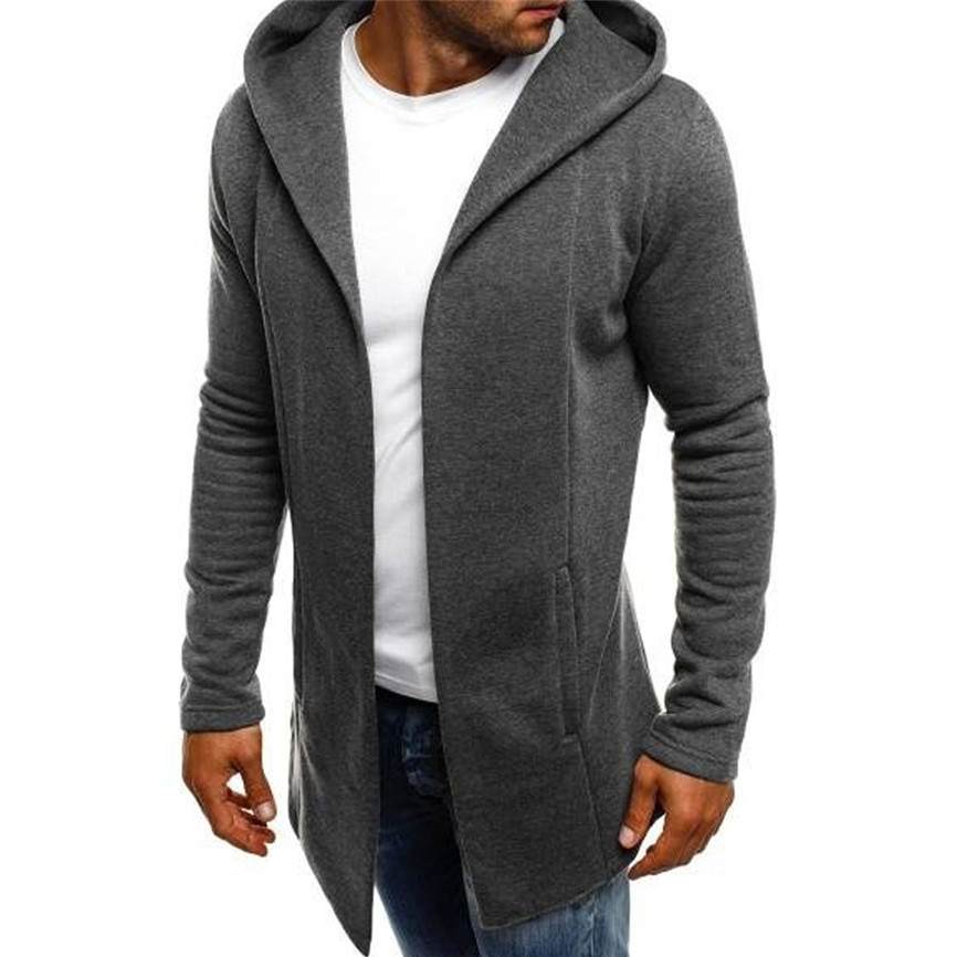 Casual Men's Jackets Men Splicing Hooded Solid Trench Coat Jacket Cardigan Long Sleeve Outwear Blouse Man Jacket #FU