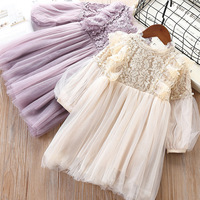 Owligbaby Girl Dresses Lantern Sleeve Princess Party Princess 2019 Spring Kids Lace Children Dress with Pearls Purple and White
