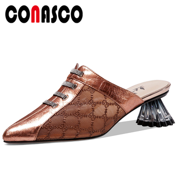 CONASCO 2020 Women Sandals Pumps Genuine Leather Slippers Fashion Embroider Mules Summer New High Heels Casual Shoes Woman