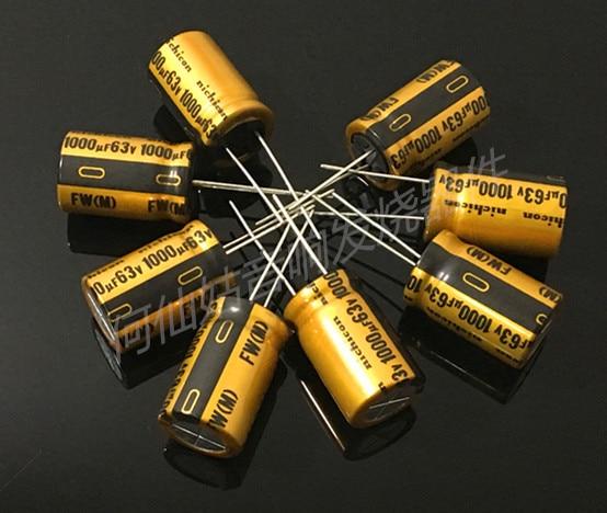 4pcs NEW NICHICON FW 1000UF 63V 16X25MM 1000UF/63V Audio Electrolytic Capacitor 63V1000uF Filter Amplifier 63V 1000UF
