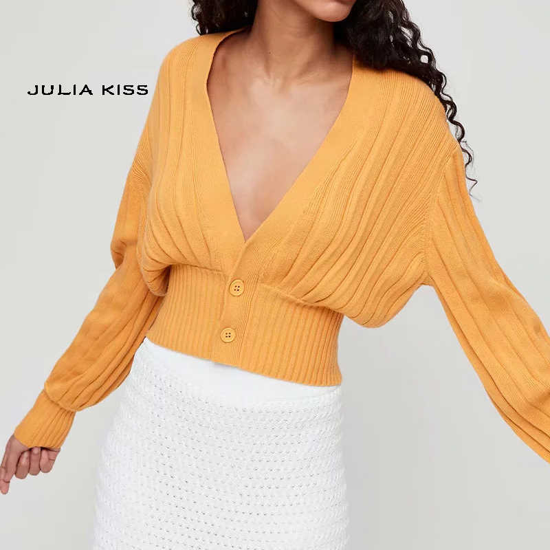 Women Deep V Neck Knit Cardigan with Ribbed Trims Crop Knit Top