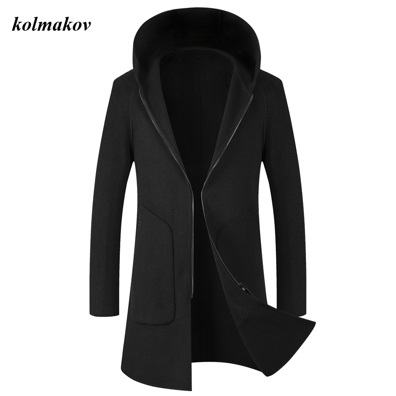 KOLMAKOV New Autumn And Winter Style Men Boutique Woolen Coat Men's Solid Double-sided Cashmere Coat Trench Wool Coat Clothes