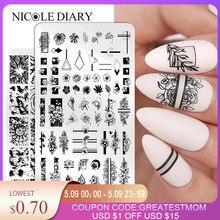 Nicole diário flores padrão prego placas de carimbo imagem pintura da arte do prego stencils modelo prego selo ferramentas
