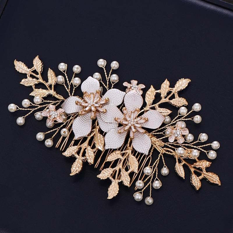 Rhinestone Pearl Branch Princess Wedding Bridal Hair Comb Headdress Hair Tiara