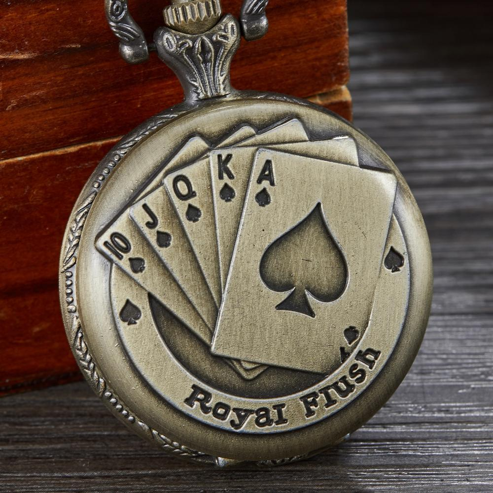 Fashion Retro Bronze Playing Cards Circle Quartz Pocket Watch Pattern Vintage Pendant For Men Or Women Nice Gifts Chain 2019 New