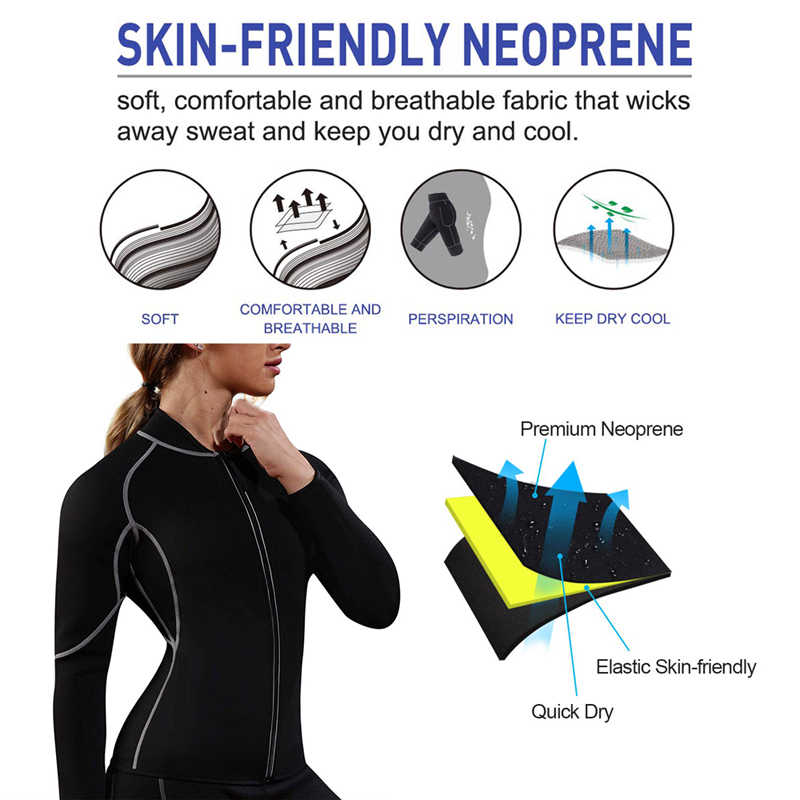 2019 新しい女性の痩身ネオプレンベスト袖ジッパー減量汗シャツボディシェイパーウエストトレーナーシェイプウェア