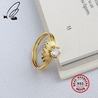 Двухслойные 925 пробы серебряные кольца для женщин, винтажные женские кольца с цирконием, женские кольца 925