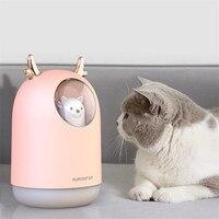 New Mini USB Air Humidifier 300ml Cute Bear Design Essential Oil Diffuser Cold Steam Diffuser with LED Light Humidifying Air