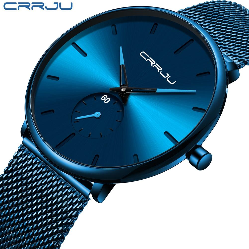 CRRJU Ultra Thin Blue Stainless steel Quartz Watches Men Simple Fashion Business Japan Wristwatch Clock Male Innrech Market.com